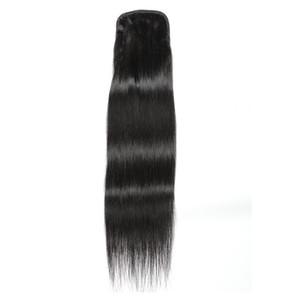 Sedoso cabello humano extensiones de la cola de potro Cola de caballo de cabello humano Remy no para Mujer