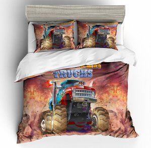 Monster Truck King Size Bedding Set Cartoon Colorful Cool 3D Duvet Cover Queen Home Textile Double Single Bed Set With Pillowcase 3pcs