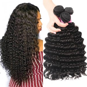 3pcs lot TKWIG deep wave brazilian human hair weave full lace human hair under 100 for black women