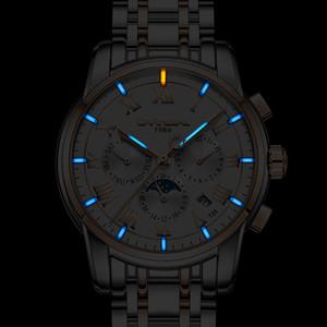 T25 tritium gas luminoso reloj automático CARNAVAL hombres relojes zafiro fase lunar relojes de pulsera mecánicos relogio masculino 2017