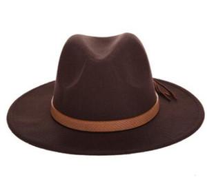Automne Hiver Chapeau de soleil Femmes Hommes Fedora Hat classique large Brim Floppy Felt Cap Cloche laine Imitation Chapeau