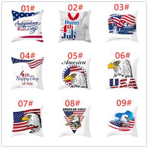 Toptan 45 * 45 cm Amerikan Bağımsızlık Günü Yastık Kılıfı Kanepe Minder Kapak Ev Dekor Koltuk Yastık Amerika Bayrağı atmak Yastık Kapak
