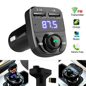 الصوت X8 FM الارسال مدخل aux المغير عدة السيارة يدوي بلوتوث سيارة استقبال لاعب MP3 مع الإضافية 3.1a الشحن السريع المزدوج USB سيارة C مع صندوق