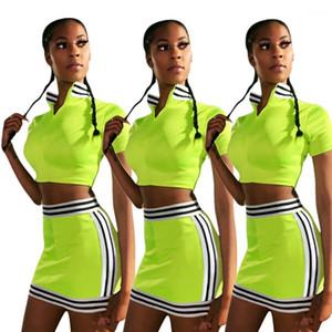Diseñador de verano de rayas sistemas de la ropa trajes de las mujeres 2pcs juegos de falda de hierba corta Tops Trajes Faldas