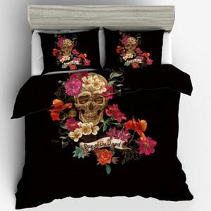 Çiçek İskelet Yatak Seti 3 adet Sevimli Yaratıcı Tasarım Nevresim Yastık Kılıfı İNGILTERE Boyutu Tek Çift Kral