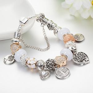Braccialetto di fascino di modo 925 Braccialetti in argento Pandor in argento per le donne Life Tree Pendant Braccialetto Braccialetto Pandora Pandora Amore Perle come gioielli fai da te regalo N143