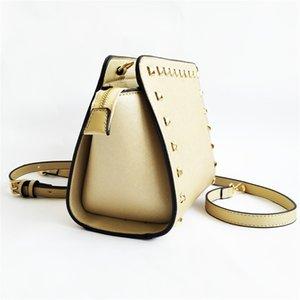 Designer-Hotsales Female Shoulder Bag Motorcycle Vintage Bag Sheepskin Genuine Leather Studs Rivet Women Famous Chain Medium City Bags#463