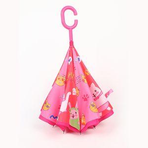 9style Çocuk Karikatür Hayvan Şemsiyeler Çocuk C Tipi Ters Şemsiye Çift Katmanlı Rüzgar kesici Şemsiyeler Açık Balıkçılık Şemsiye GGA3534-8