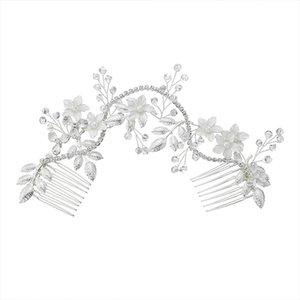 Fashion Handmade Thin Coated Alloy Flower Pearl Insert Wedding Tiara Bride Pair Hair Comb