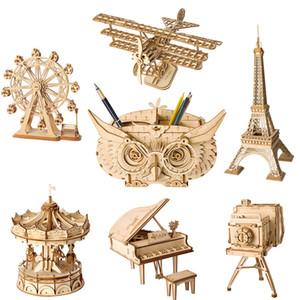 Детские деревянные игрушки головоломки модели сборки Игрушки Plane Merry Круглый Колесо обозрения Pencil Box Игрушки Детские подарки 07