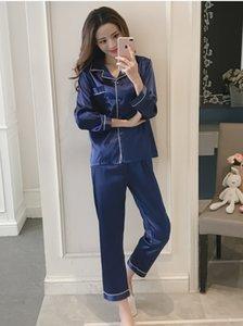 JULY'S SONG 1 Piece Autumn Women Sleepwear Faux Silk Satin Pajamas Set Long Sleeve Pajamas Suit Female Pijamas Women