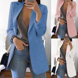 Новая мода Solid Color нагрудные Длинные рукава Бизнес женщины Blazer пальто пиджак
