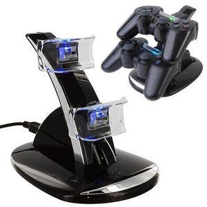 DUAL جديد وصول LED USB ChargeDock الإرساء محطة مهد حامل لاسلكي سوني بلاي ستيشن 3 PS3 لعبة وحدة تحكم شاحن