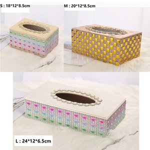 Multifunctional Tissue Case Storage Box Shinning Hot stamping of metal Paper Container for Restaurant Car Home Hotel