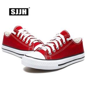 SJJH lona de las mujeres zapatillas de deporte de los amantes de zapatos cómodos vulcanizar Pisos ocasional del hombre Chaussure con cordones de las señoras calzado Formadores D002