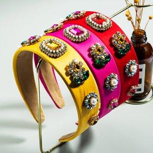 Gorgeous Baroque Geometric Crystal Headband for Woman Vintage Multi Color Rhinestone Sunflower Hair Band Woman Party Tiara Crown