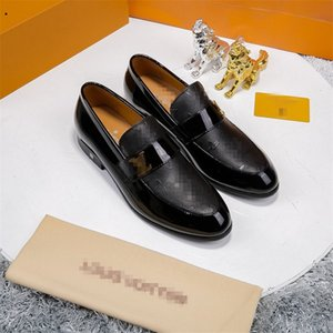 New Mens Luxury Monte Carlo Designer Dress Shoes Black Brown Lattice Leather Casual Loafers Men Slip on Pointed Oxford Shoes With box