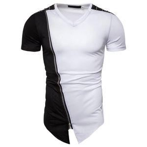 T-shirt à manches Miicoopie Contraste Miicoopie T-shirt à épaule HIP HIP T-shirt court T-shirt diagonal ourlet en V-cou