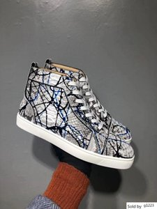 Graffiti Python Leather High Top Sneakers Shoes Women,Men Red Bottom Casual Party Leisure Flats Famous Dress Walking With Box EU35-46 Z1