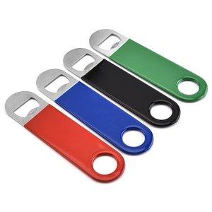 4 cores simples de aço inoxidável de plástico plana PVC abridor de garrafas de vinho tinto cerveja bebida garrafa cozinha abridor dispositivo T3I5764
