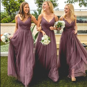 2021 Tulle Bridesmaid Dresses with Spaghetti Straps A Line Long Open Back Cheap Bridesmaid Dresses Maid Of Honor Wedding Guest Gown