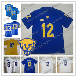 Pittsburgh Panthers Pitt 2019 # 12 Paris Ford 33 Tony Dorsett 89 Mike Ditka 97 Aaron Donald Stitched Navy White Royal NCAA Football Jersey