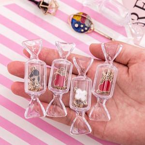 10pcs / set de caramelo en forma de caja de almacenamiento de azúcar joyería Ring Craft caso del almacenaje del caramelo creativo transparente caja de embalaje HHA1022