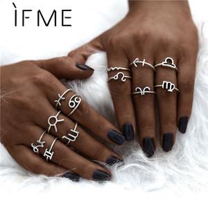 Cheap Anéis SE ME Moda Novo Metal 12 Constellation Zodiac Sign Dedo Anéis Jóias Set Para Mulheres Homens Boho Vintage Prata Anel Knuckle