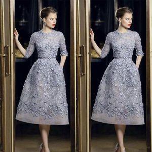 Sexy formal do partido Celebrity Dress personalizadas Elie Saab Vestidos de noite elegante do laço Applique A-Line Prom Vestidos 3/4 manga comprida Tea Duração