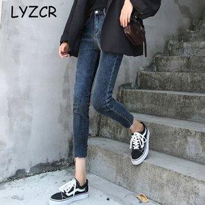 LYZCR vita alta denim stretch Jeans Donna Primavera 2020 Vintage Skinny Jeans Donna vita alta per le donne Pantalon Femme