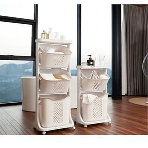새로운 더러운 천으로 바구니 욕실 세탁 저장 바구니 보편적인 바퀴 플라스틱 가정용 조직이 노르딕 카 Bucket