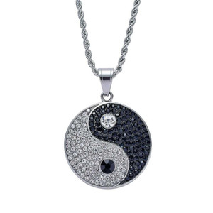 hip hop Tai Chi diamonds pendant necklaces for men women luxury chinese Tai Ji pendants stainless steel Yin and Yang Symbols necklace gifts