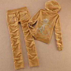 Primavera Outono Mulheres Tecido de veludo veludo Treino Mulheres terno agasalho camisolas e calças tamanho