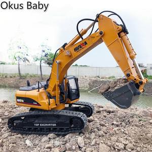 2019 Marca New Toys 15 Canal 2.4G 1/14 RC escavadeira de carregamento do carro de RC com RC Bateria Alloy Escavadeira RTR Para as crianças T200115