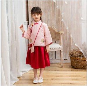 2020 Nuovo marchio più venduto ragazze Hanfu autunno insieme a due pezzi di stile nazionale con cotone e felpa Tang tuta bambine vestito studente