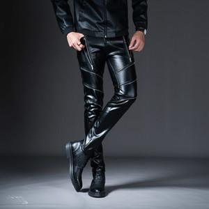Hommes Cargo Pantalons 2019 Nouveau Nouveau Hiver Printemps Pantalon en cuir skinny hommes Mode Faux Pantalons en cuir pour Homme pantalons Stage Club Wear Biker P