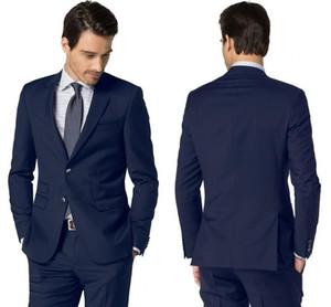 Gute Qualität Farbe Navy-Geschäft-formale fallendem Revers Smoking mit zwei Knöpfen Side Vent-Abend-Partei-Kleidungs-Satz (Jacket + Pants)
