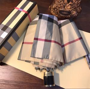 Verifique o teste padrão impressão Carta B-chuvas Womens Sun Umbrella elegante de-sol Moda Três automática Dobre-chuvas de alta qualidade