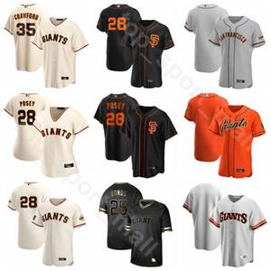2020 Baseball Hommes Femmes Enfants 35 Brandon Crawford Jersey 9 Brandon Belt 10 Evan Longoria 28 Buster Posey Jeff Samardzija Equipe Blanc Orange