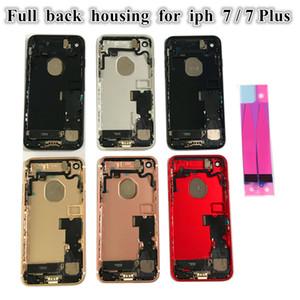 iPhone 7G 7 Artı Tam Arka Pil Kapı Arka Konut Orta Çerçeve Paneli Kapak Montaj Değiştirilmesi + Logo küçük parçalar Flex Cable için 5Pcs