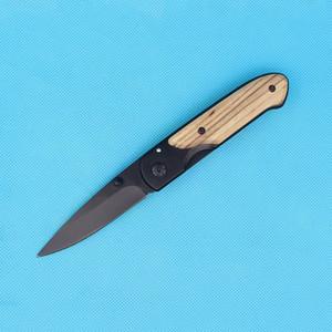 A qualidade superior da borboleta DA44 sobrevivência bolso faca dobrável alça de madeira preta com acabamento em titânio lâmina de faca tático facas EDC bolso
