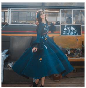 Explosões de alta qualidade Lazer Retro correspondência lã Primavera Vestidos Mulheres Outono Vestido Casual