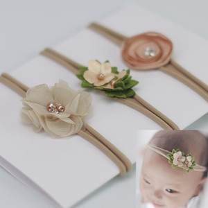 Baby Flower Headband White pearl Solid Color Girl Children Infant Baby Hairband Hair Accessories For Girls Princess Hairband drop ship