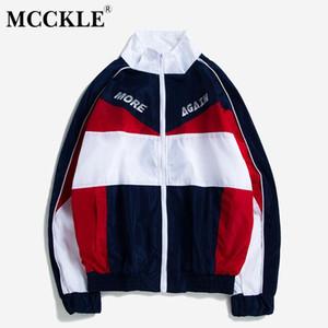 MCCKLE manches longues vestes patchwork 2018 Hip Hop Automne Hiver pied de col Veste Streetwear Zip Coats