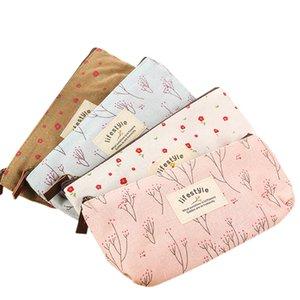 Nette Kawaii Blumenblumen-Leinwand Reißverschluss Mäppchen reizender Stoff Baum Stift Tasche Schulbedarf Kostenloser Versand