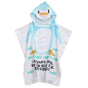 100 ٪ القطن شاطئ الطفل ثوب الطفل رداء حمام ومناشف الشاطئ عباءة الرأس الرضع الكرتون الحيوان مقنع الطفل منشفة حمام (البطريق)