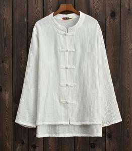 Spring Summer 2020 Cotton and Hemp Women's Wear New Products Read Baixiu Spinning Original Retro Vertical Collar Pankou Women's Top Cardigan