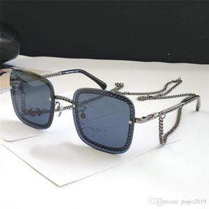 Yeni Satış güneş gözlüğü 4244 moda tasarımcısı güneş gözlüğü kutusu popüler mercek'lerin UV400 koruma gözlük bağlayan kare, çerçevesiz zincirleyin