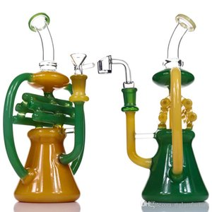 """Glass Bong Dab Rig NOTE Recycler Water Bongs Tall 10.5"""" Inline Heady Glass Beaker Bong colour Recycler Oil Rigs Bubbler Pipe"""