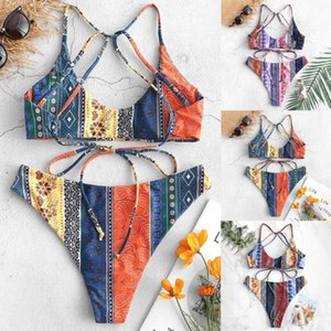 Are you sure not to click in and see? Women Sexy Tow-Piece Swimsuit Printing Patchwork Bikini Set Beachsuit Swimwear hot sale